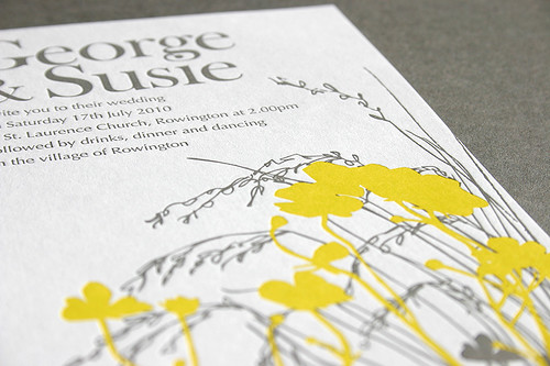 Yellow Grey Wedding Invitations: Grey & Yellow Letterpress Wedding Invitations
