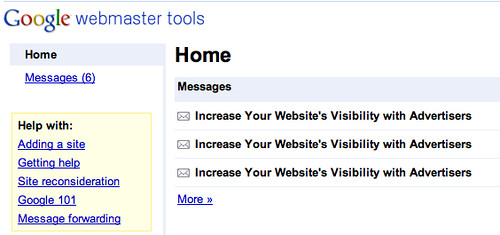 Ad Planner Email ad on Google Webmaster Tools | by rustybrick