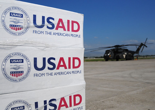 Pallets of food, water and supplies staged to be delivered | by USAID_IMAGES