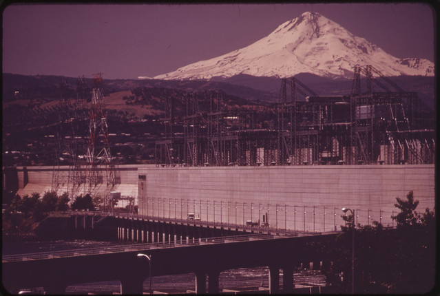 Mt. Hood Rises behind the Dalles Dam on the Columbia River This Dam Has Two Fish Ladders and a Powerhouse Collection System 05/1973