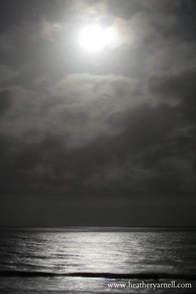 Moon Over Atlantic Ocean