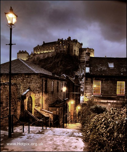 365-193 The Vennel, Browns Place , with view of Edinburgh Castle , Edinburgh Scotland at Dusk | by @HotpixUK -Add Me On Ipernity 500px
