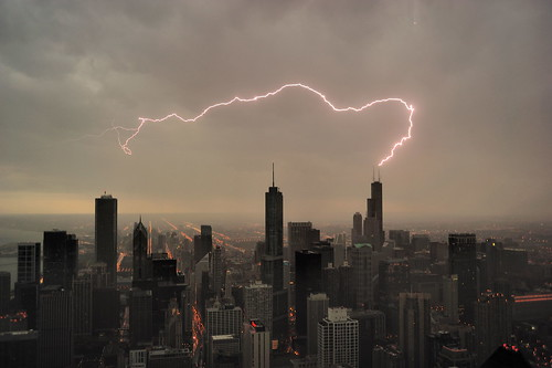 Lightning strikes Sears (Willis) tower in Chicago facing south from Hancock tower (EXPLORED) | by Aris Vrakas