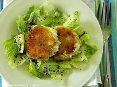 Pan Fried Goat Cheese with Creamy Lemon Poppy Seed Dressing | by CinnamonKitchn