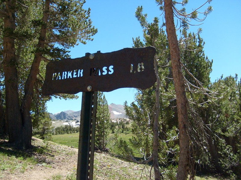 Rusty yet Solid Steel Trail Sign for Parker Pass, our goal for the day