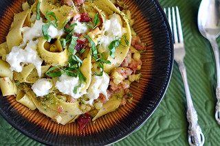 Pasta with Chilies, Burrata, and Pancetta | by Cathy Chaplin | GastronomyBlog.com