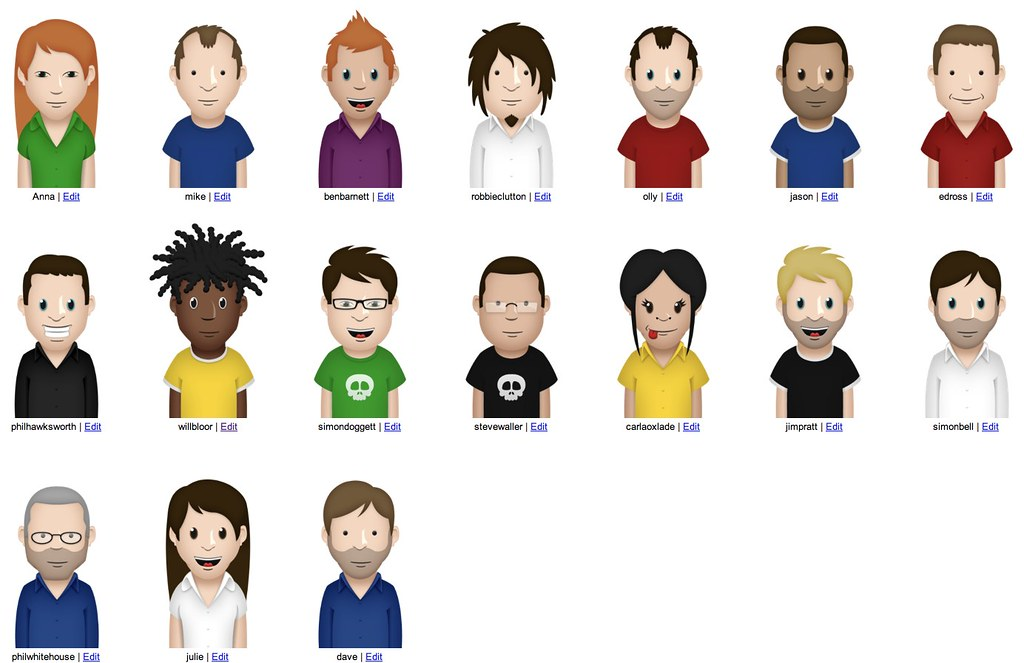 image showing 17 different avatars - different genders, races, ethnicity, clothing, hairstyles, and ages are depicted in these example avatars.