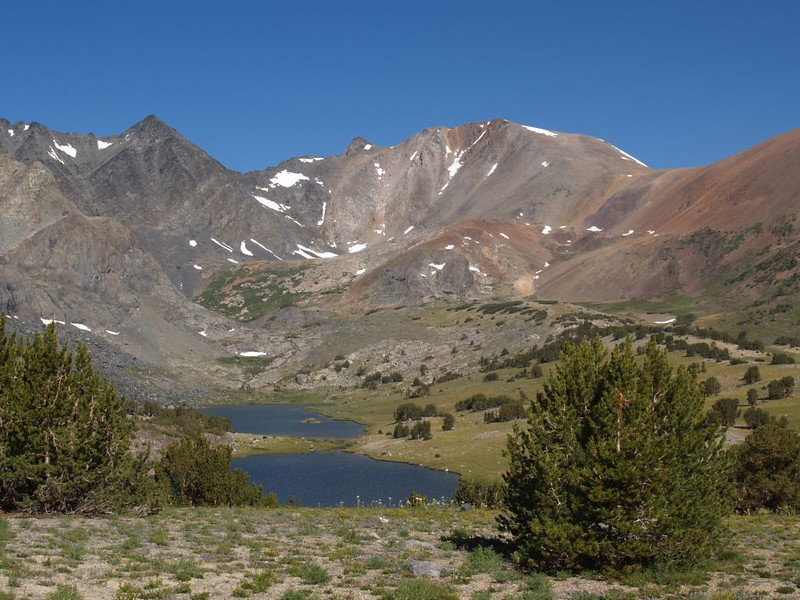 The Alger Lakes from the south, with Koip Peak and Pass on the right