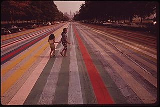 Crossing the painted road which extends east from the Philadelphia Museum of Art.  Center City in the background, 09/1973. | by The U.S. National Archives