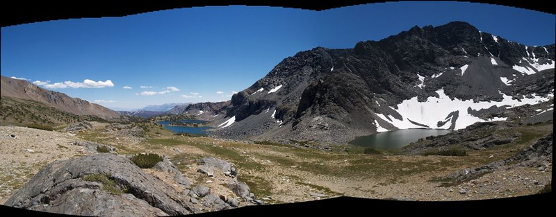 Lower and Upper Alger Lakes panorama with Blacktop Peak