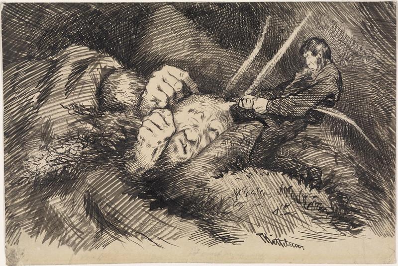 """Theodor Kittelsen - """" Uff ! """" shouted Farmer VærskjeggTil ' Farmer Veirskjæg """" , P. Chr. Asbjornsen og J. Moe, Eventyrbog 's born . Norske Folkeeventyr , Copenhagen 1887"""