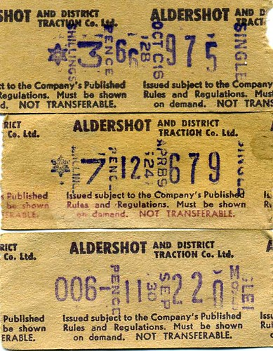 Aldershot & District Traction Co Ltd. Setright Bus tickets 1970-1, Machine nos C16, M95 B97. 1970-1 | by sludgegulper