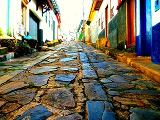 Stone paved street in Diamantina, Minas Gerais, Brazil | by peggyhr