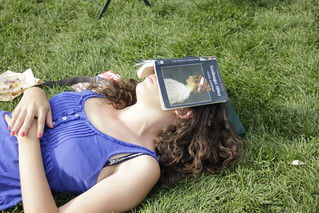 Woman sleeping with Jane Austen