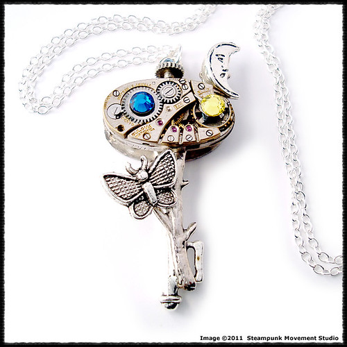 Retro Industrial Key Pendant - Nature Under the Moon | by Steampunk Movement Studio