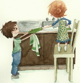 Duet at the sink (for Illustration Friday) | by Caitriona Sweeney