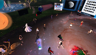 Avatars dancing at pavillion on Exploratorium Island during lunar eclipse celebration | by Pepto Majestic