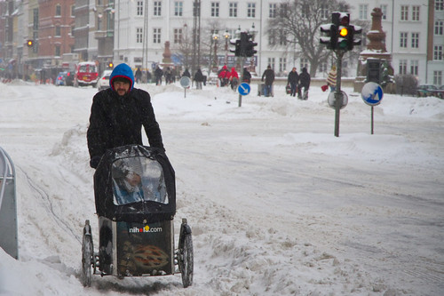 Snowstorm Cargo - Winter Cycling in Copenhagen | by Mikael Colville-Andersen
