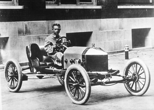 Frank Kulick in Ford race car, about 1910