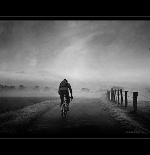 Cyclist in Morning Mist | by h.koppdelaney