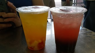 Passionfruit Drink with Rainbow Jelly and Strawberry Drink with Pearls from Thien An