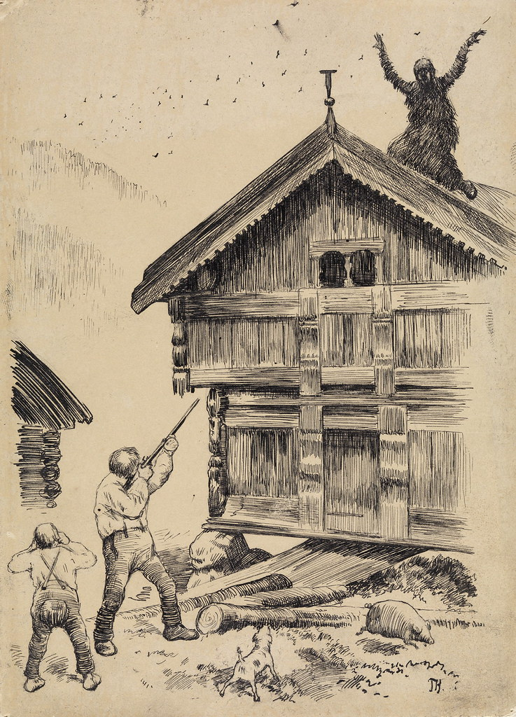 "Theodor Kittelsen - "" Shoot no ,"" cried his wife , "" it's me ""Illustration for "" Somme Kjær Rings ere SLIG "" , P. Chr. Asbjørnsen and J. Moe, Eventyrbog for Børn . Norwegian Folkeeventyr , Copenhagen 1883"