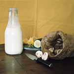 Milk bottle, mushrooms, lemon and cucumber