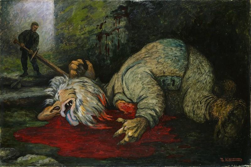 "Theodor Kittelsen - ""The Ash Lad beheads the Troll."" 1900"