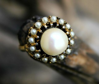 Faux Seed Pearl Gold Tone Ring