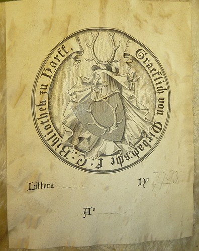 Bookplate (ca. 1888) of the Gräflich von Mirbach'sche Fidei Commissum Bibliothek zu Harff with arms of the Grafen von Mirbach-Harff""