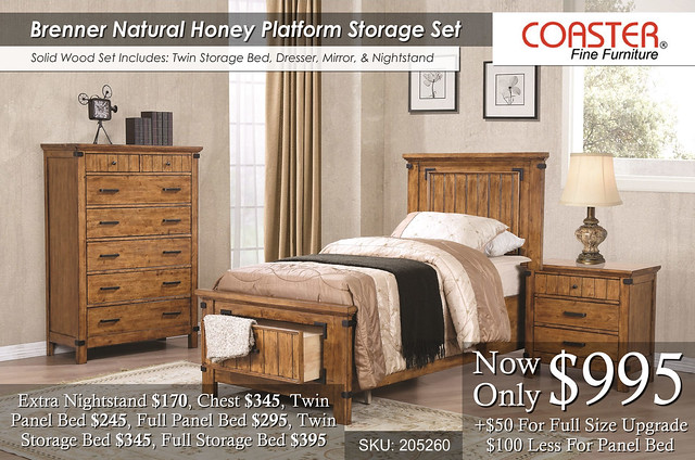Brenner Natural Honey Twin Storage Bedroom Set