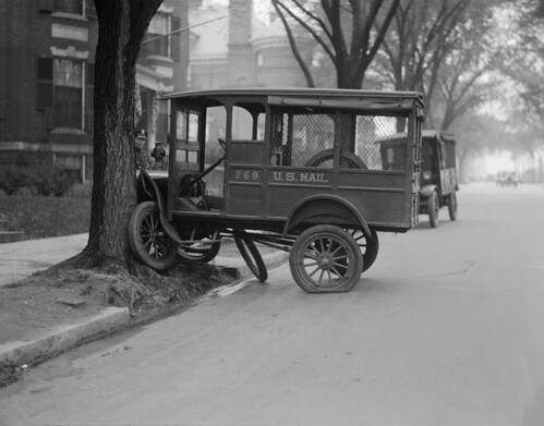 Mail truck tries to climb tree. Comm. Ave. Boston. | by Boston Public Library