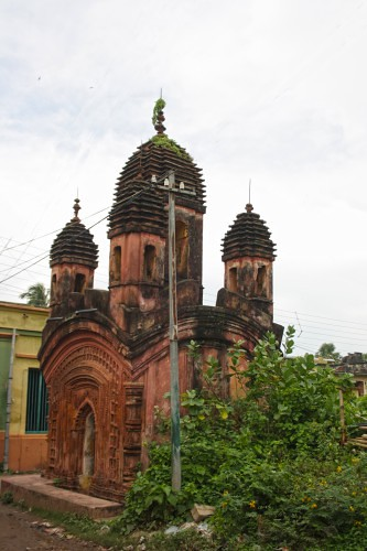 Panchratna brick temple - During Wiki Loves Monuments 2016, Baidyapur, West Bengal India