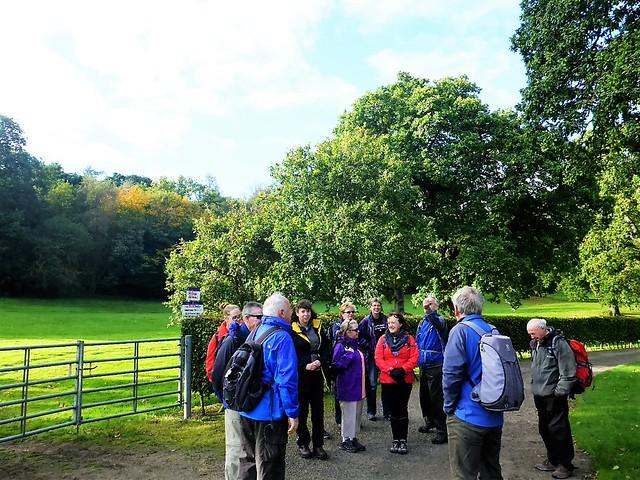 Hiking group at Callendar Park, Falkirk, Scotland.