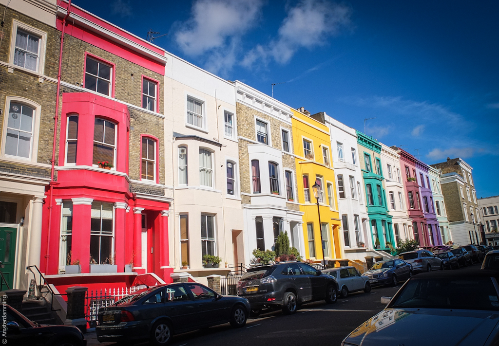 London, Colourful Houses near Portobello Road