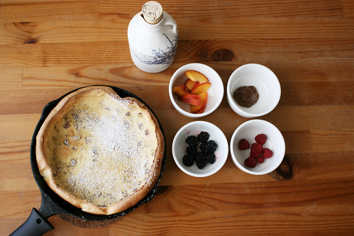 Dutch baby with summer fruit, pecans, and Nutella