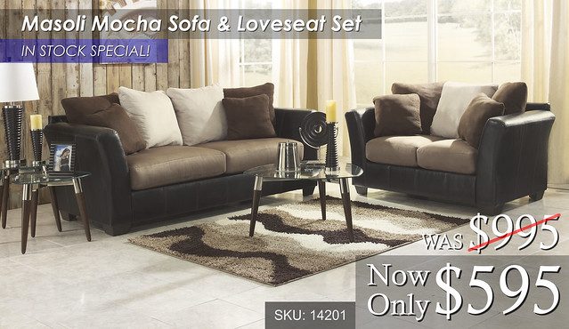 Masoli Mocha Sofa & Loveseat - In Stock