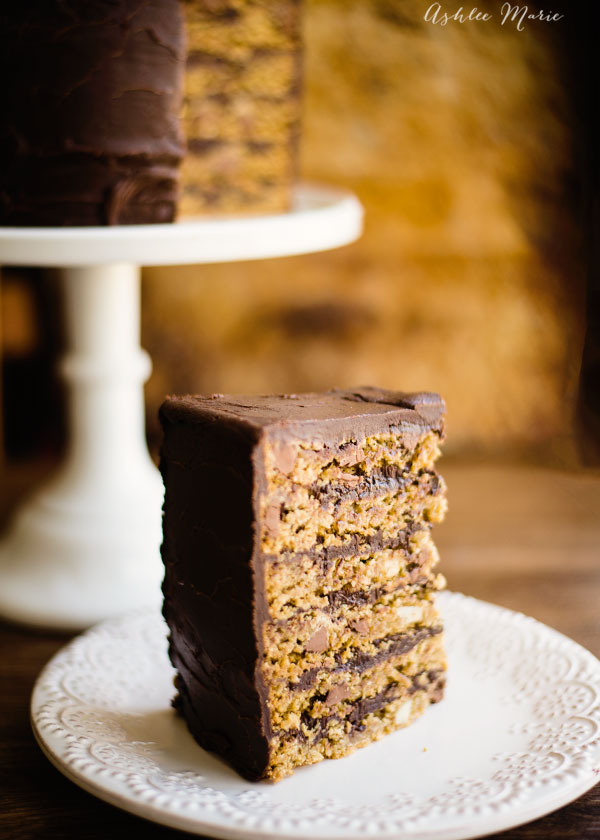 Chocolate chip and macadamia nut cookie cake frosting in a rich dark chocolate ganache - a delicious dessert