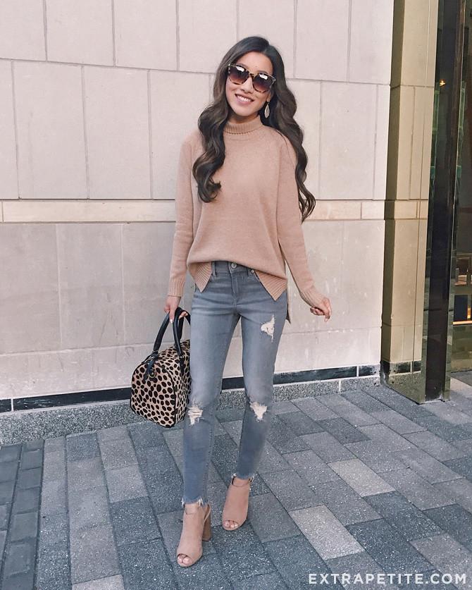 cozy fall outfit idea camel turtleneck sweater_extra petite