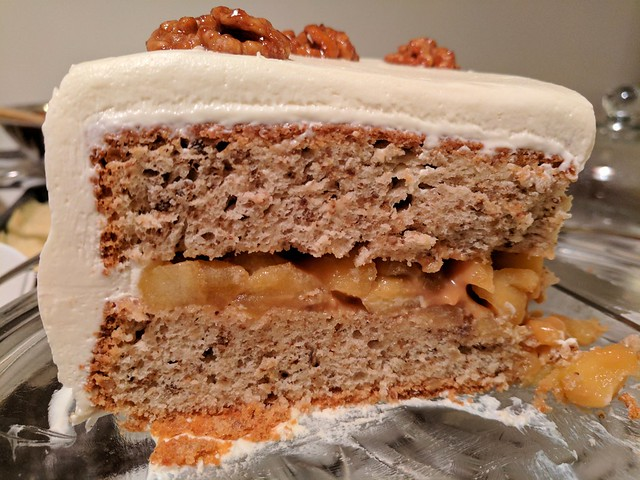 Walnut Layer Cake with Apple-Caramel Filling and Calvados Cream Cheese Icing
