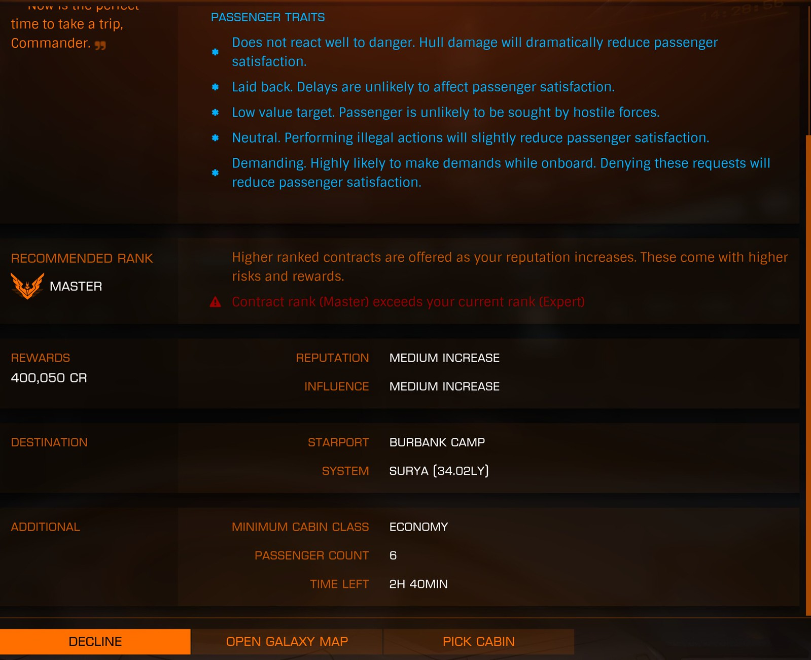 Contract Rank in Passenger Missions | Frontier Forums