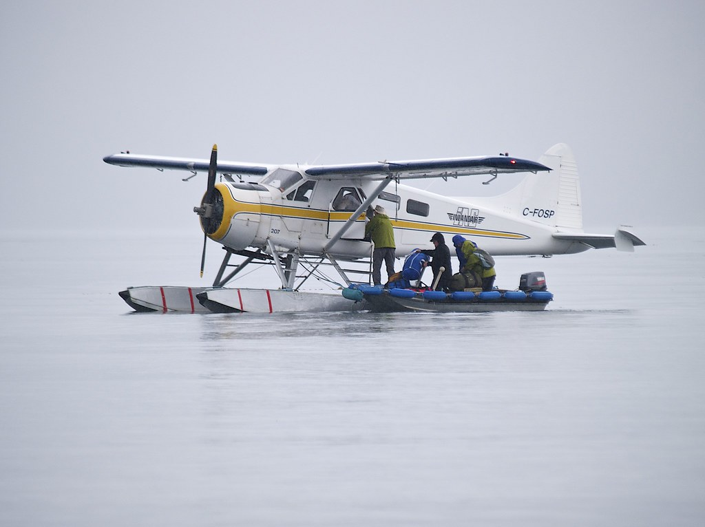 unloading provisions from the Beaver as another squall hits