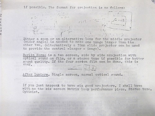 Horror Film 1 projection requirements [copy of typescript by M Le Grice]