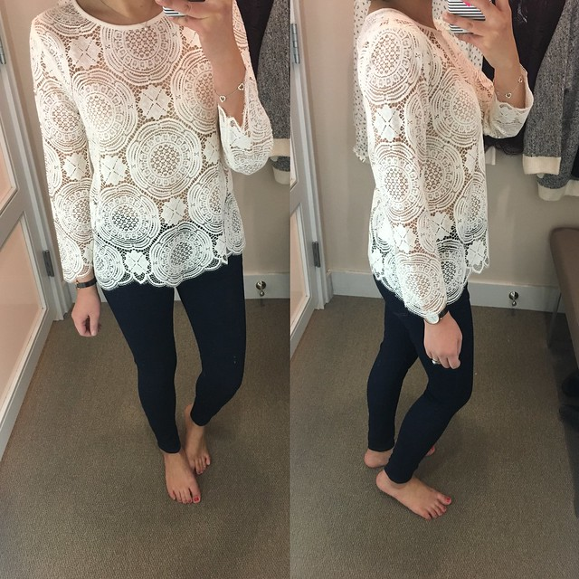 LOFT Lace Medallion Top in whisper white, size XS regular