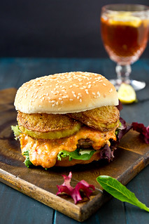 The Southern: Pimento Cheese burger with Fried Green Tomatoes | by TheBrewer&TheBaker
