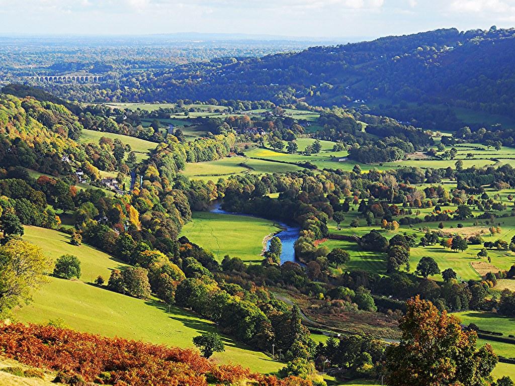 Dee Valley viewed from Castell Dinas Bran, Llangollen, Wales.