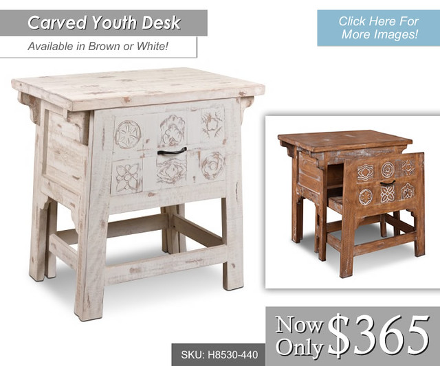 h8530-440-Brown or WHite $365 Carved Youth Desk