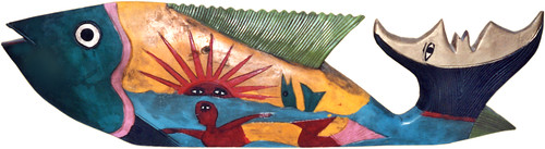 Mexican folk-art fish with a happy mermaid, carved out of wood and painted