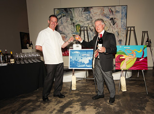 Santa Monica restaurateurs Chef Joe Miller of Bar Pintxo and Piero Selvaggio of Valentino Restaurant Group, judges in Jordan Winery's 4 on 4 Los Angeles Art Competition | by 4on4Art