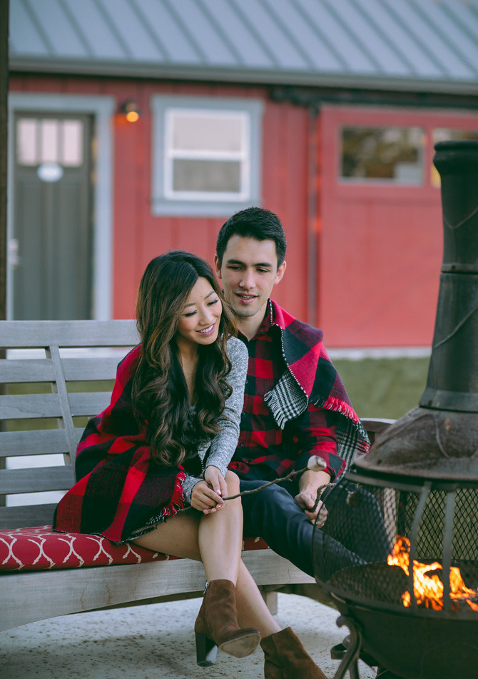 cozy his hers couples outfit firepit napa vacation